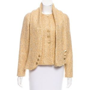 Chanel Metallic Accented Wool Jacket w/ Scarf